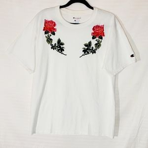 Champion Tee W/ Rose Appliques